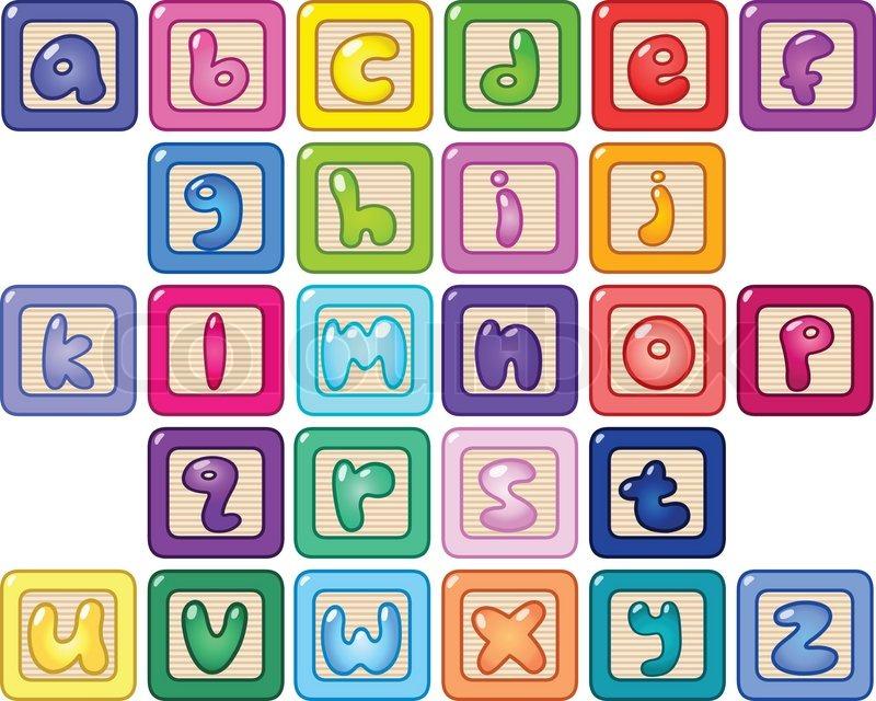 800x640 Colorful Lower Case Alphabet Blocks Stock Vector Colourbox