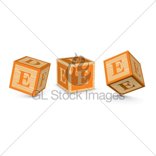 500x500 Vector Letter E Wooden Alphabet Blocks Gl Stock Images