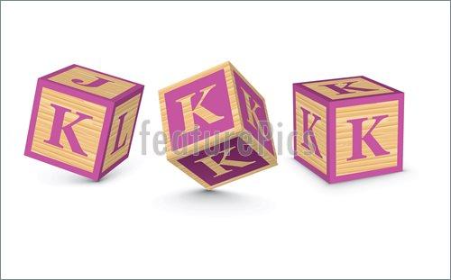 500x311 Vector Letter K Wooden Alphabet Blocks