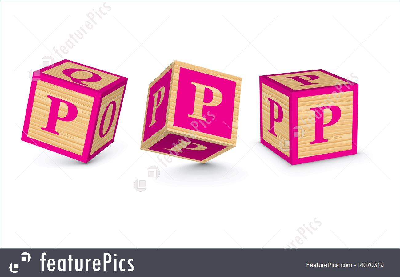 1300x900 Vector Letter P Wooden Alphabet Blocks