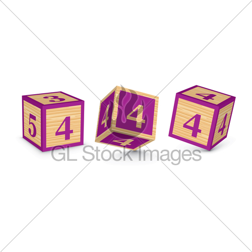500x500 Vector Number 4 Wooden Alphabet Blocks Gl Stock Images