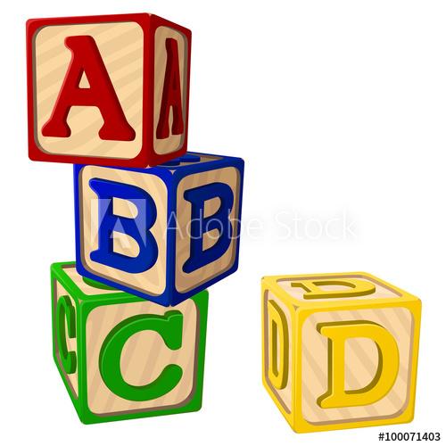 500x500 Vector Illustration Of Four Stacked Alphabet Blocks.