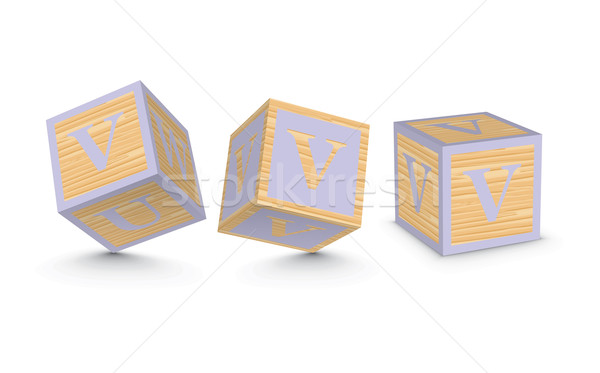 600x373 Vector Letter V Wooden Alphabet Blocks Vector Illustration Ojal