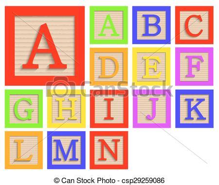 450x381 Vector Modern Wooden Alphabet Blocks Set On White Background.
