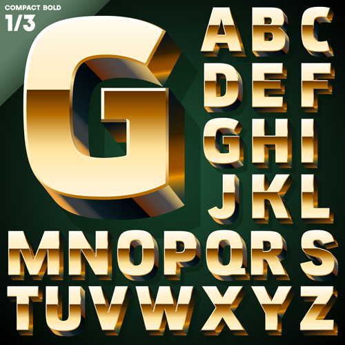 500x500 3d Gold Alphabet Vector Graphic Free Download
