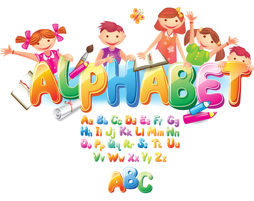 500x395 Colored Alphabet With Children Literacy Vector 04 Free Download