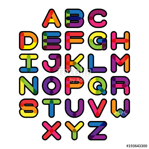 500x500 Colorful Font And Alphabet. Vector Alphabet Letters. Stock Image