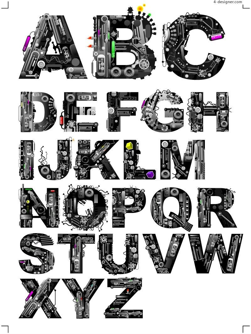 800x1063 4 Designer Cool Mechanical Alphabet Vector Material Typography