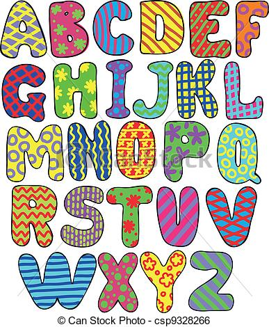 387x470 Colorful Alphabet. Colorful Whimsical Hand Drawn Alphabet.