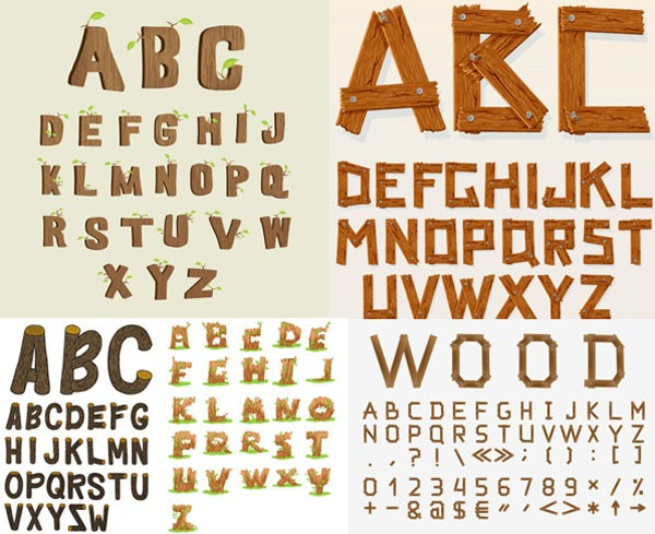 600x489 Creative Wooden Letters Of The Alphabet Vector Graphics My Free