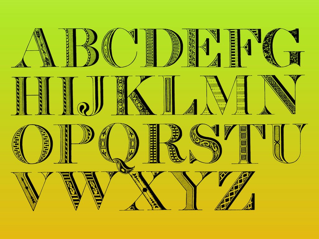 1024x767 Decorative Alphabet Vector Art Amp Graphics