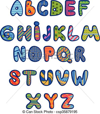 414x470 Funny Kids Colorful Alphabet .vector.