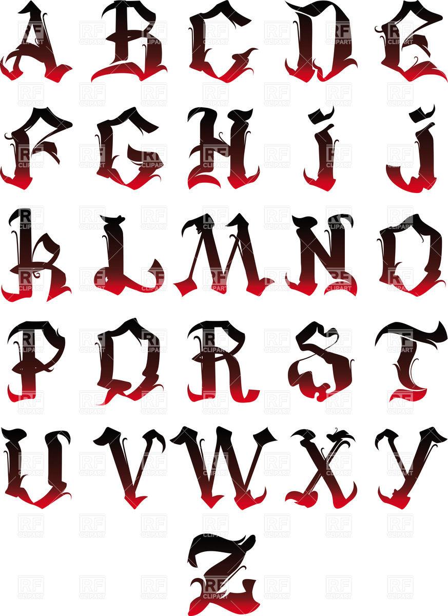 873x1200 Gothic Alphabet Vector Image Vector Artwork Of Signs, Symbols