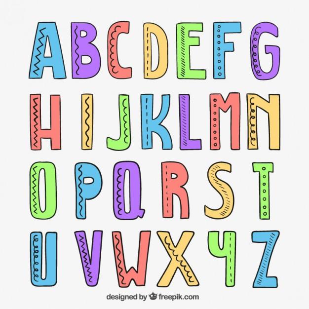 626x626 Hand Drawn Alphabet Vector Free Download