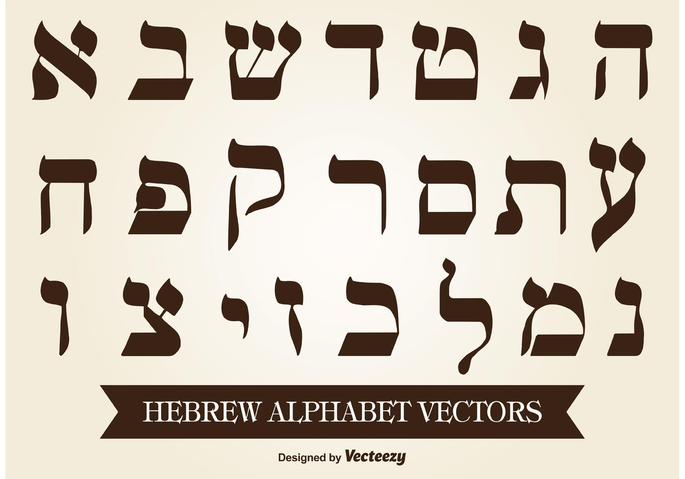 1400x980 Hebrew Alphabet Free Vector Art