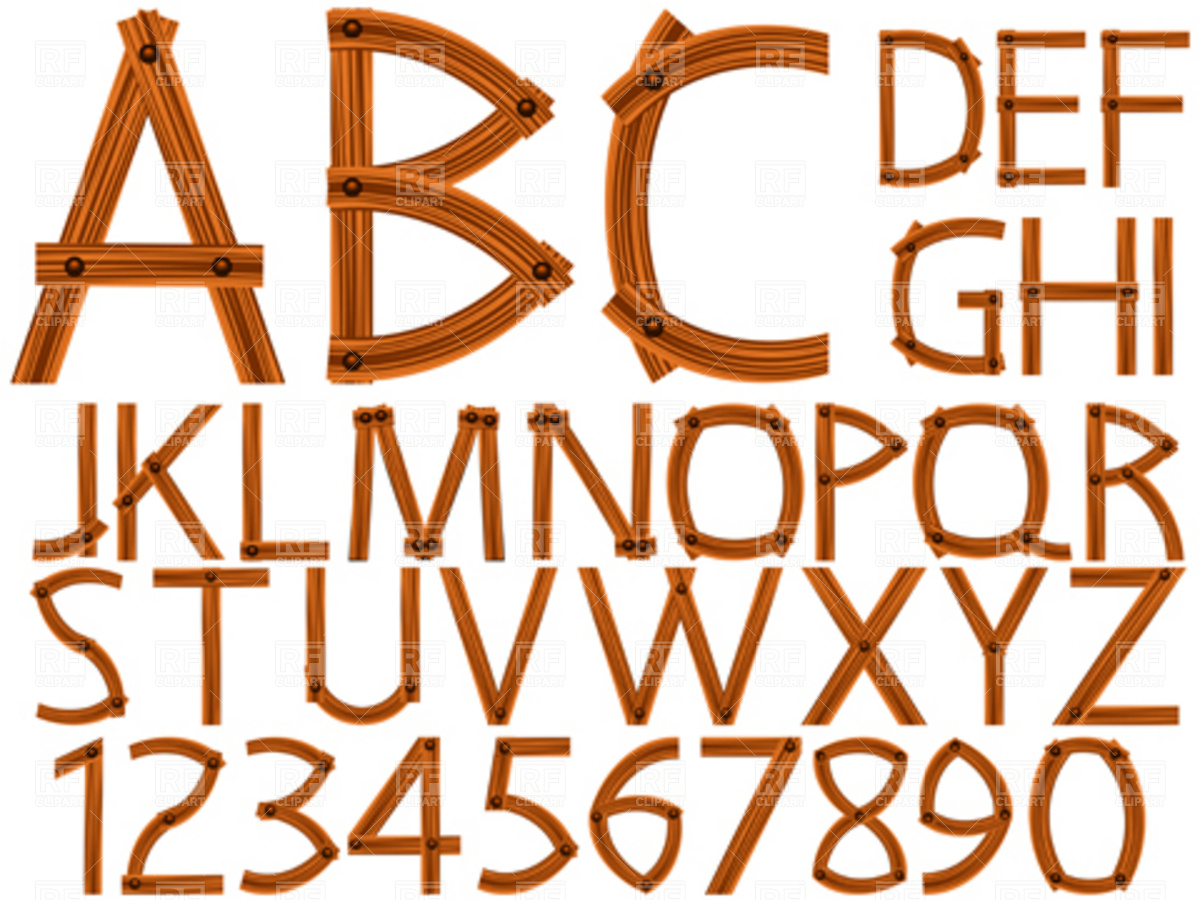 1200x900 Wooden Alphabet And Numbers Vector Image Vector Artwork Of Signs