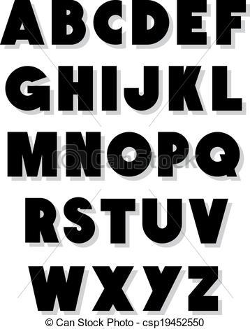 358x470 Bold Alphabet Font Type. Vector Alphabet.