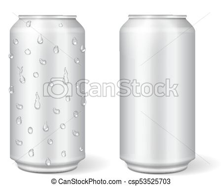 450x377 Blank Aluminium Can For Lemonade Or Beer. Realistic Isolated Vector.