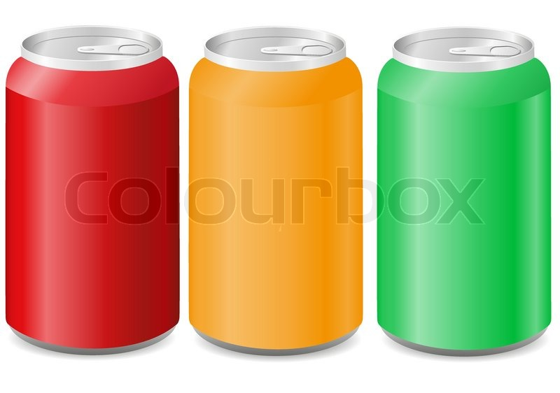 800x562 Coloured Aluminum Cans With Soda Vector Illustration Stock