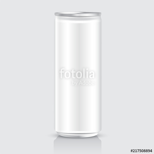 500x500 Aluminum Can Template On White Background Vector Illustration