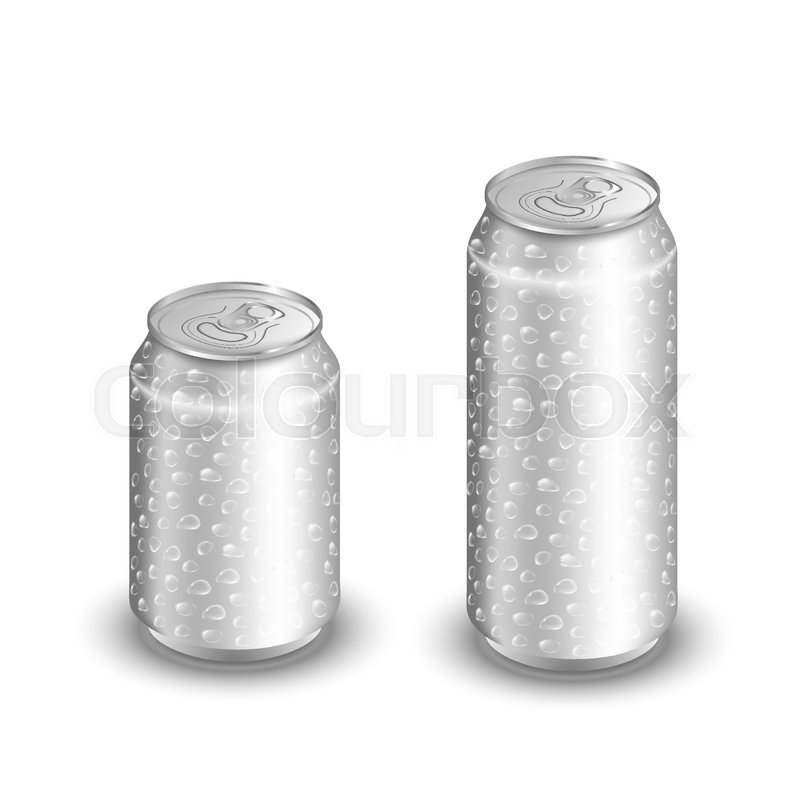 800x800 Mock Up Of Aluminum Can With Water Drops. Two Cold Aluminum Cans