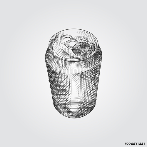 500x500 Opened Aluminum Can Sketch Symbol Isolated On White Background