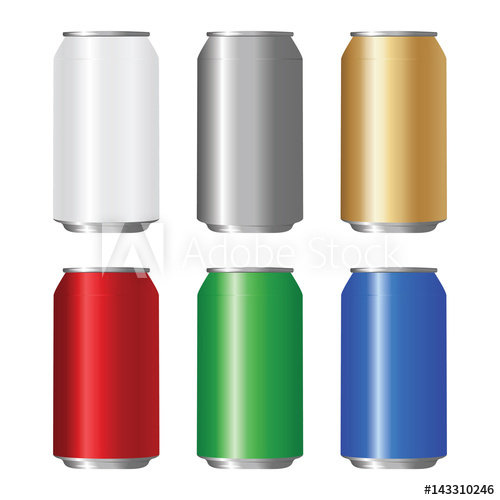 500x500 Set Of Colored Aluminum Can. Vector Illustration.
