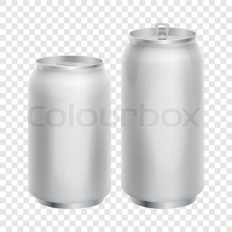 800x800 Two Blank Aluminum Cans Mockup. Realistic Illustration Of Aluminum