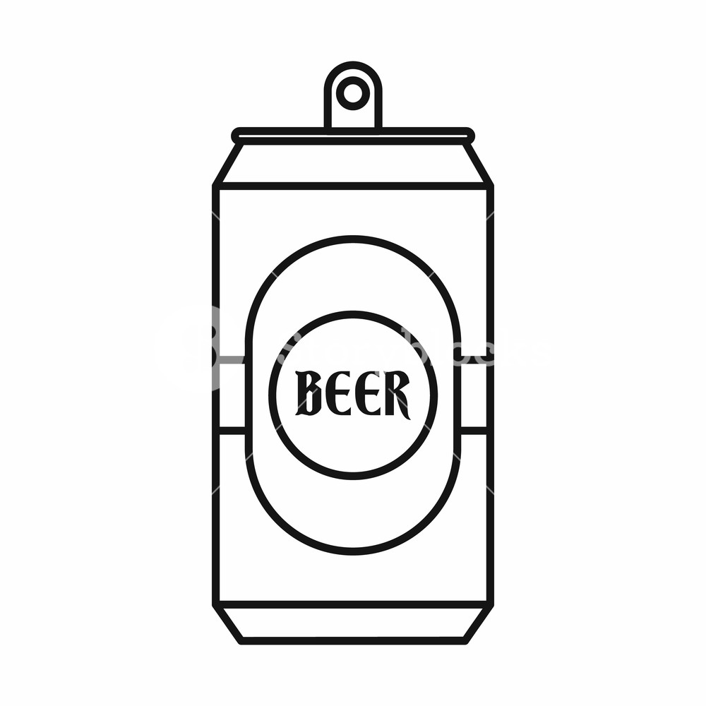 1000x1000 Aluminum Can Icon In Outline Style Isolated Vector Illustration