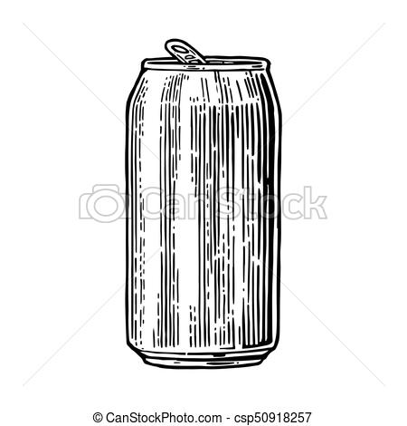 450x470 Aluminum Can. Hand Drawn Vector Vintage Engraving Illustration