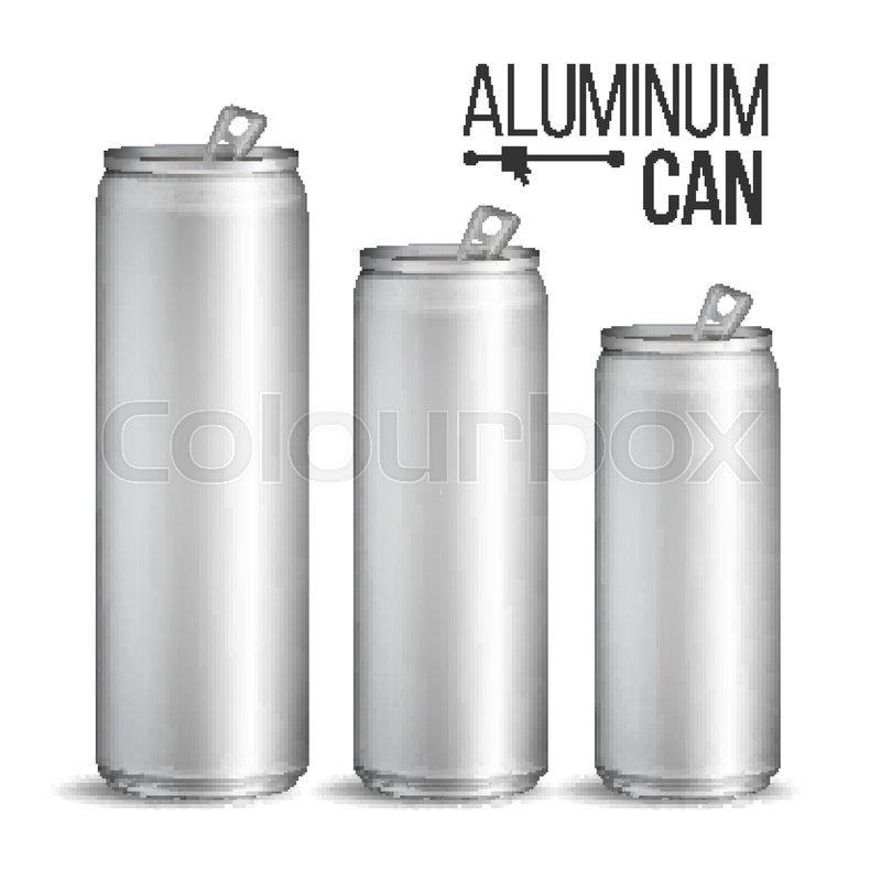 800x800 Blank Metallic Can Vector. Silver Can. 3d Packaging. Mock Up