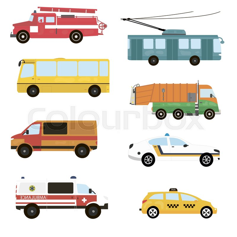 800x800 Cartoon Transport Set. Fire Truck, Trolley, Bus, Emergency, Taxi
