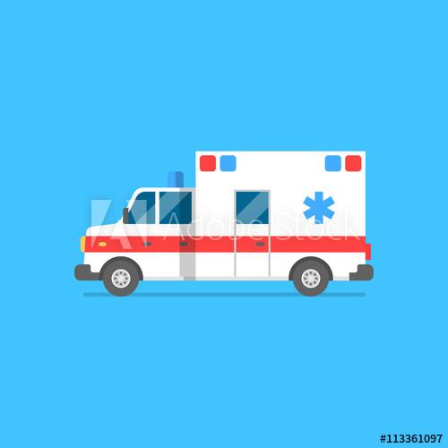500x500 Emergency Ambulance Vector Illustration. Medical Vehicle