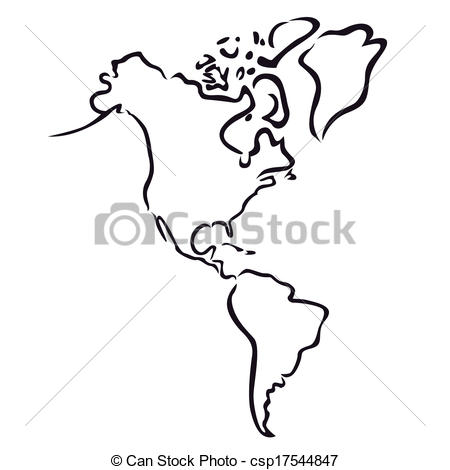 450x470 Latin America Map Vector Map Of North And South America Outline Of