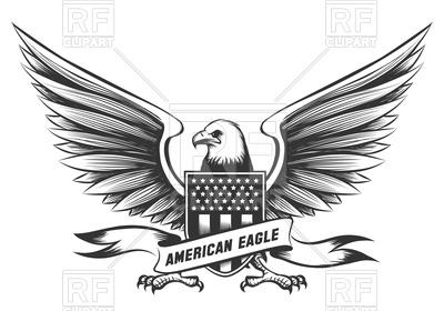 400x280 American Bald Eagle Emblem On White Background Vector Image