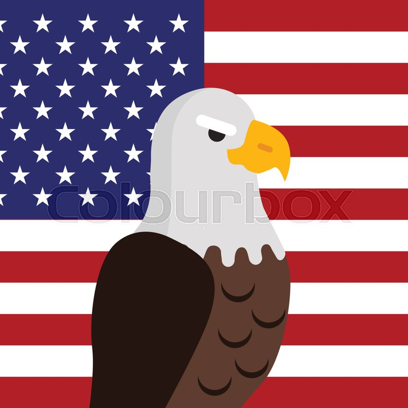 800x800 Bald Eagle Vector. Usa National Bird Symbol And Flag For Patriotic