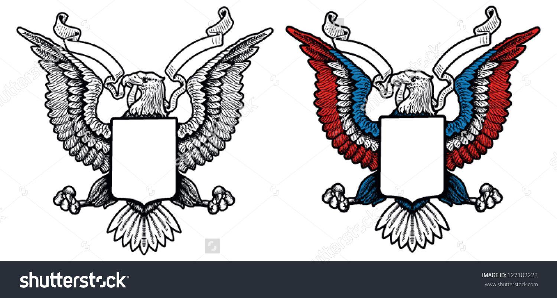 1500x805 American Eagle Crest Stock Vector Illustration 127102223