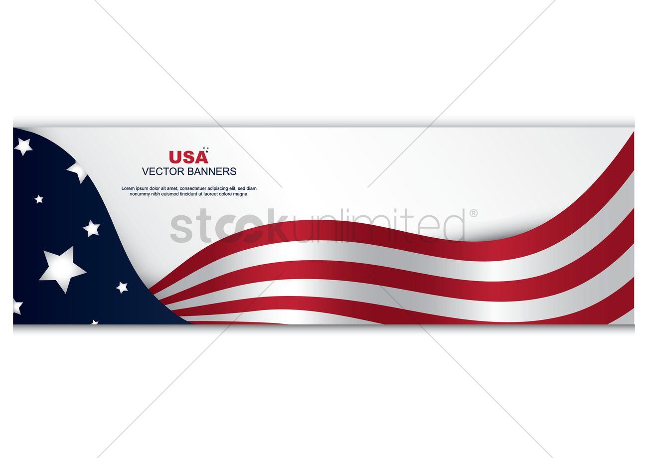 1300x919 American Flag Banner Vector Image