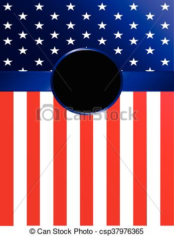 347x470 American Flag Banner With Rosette. Brightly Colored American Flag
