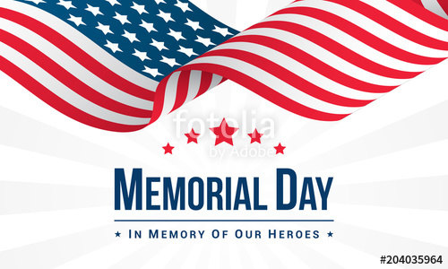 500x300 Memorial Day Background Vector Illustration, Usa Flag Waving With