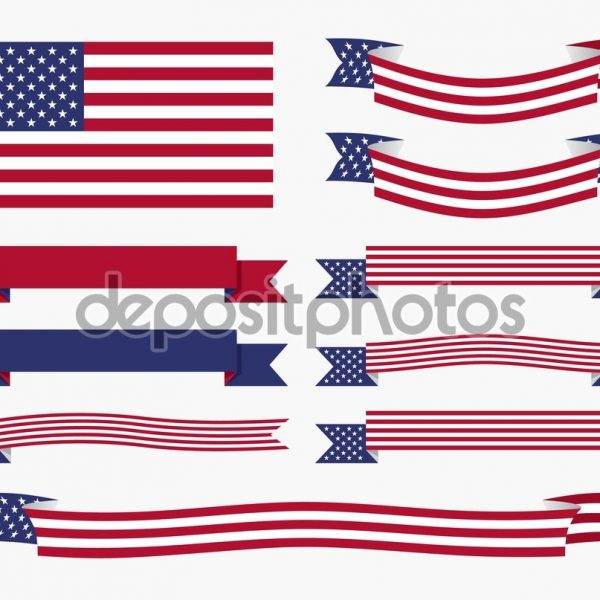 600x600 Red White Blue American Flag, Ribbon And Banner Stock Vector