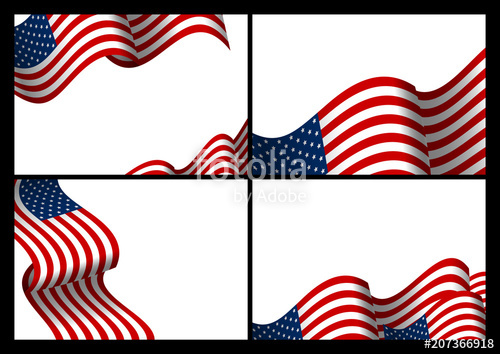 500x354 Set Of Usa Banner Background Design Of American Flag Wave With