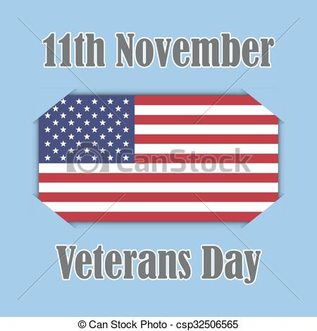 450x470 Veterans Day Banner On American Flag, Vector Illustration Clip Art