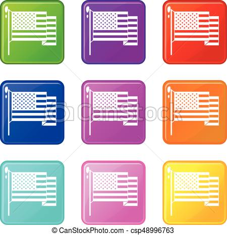450x466 American Flag Icons 9 Set. American Flag Icons Of 9 Color Set