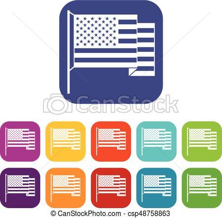 450x441 American Flag Icons Set Flat. American Flag Icons Set Vector