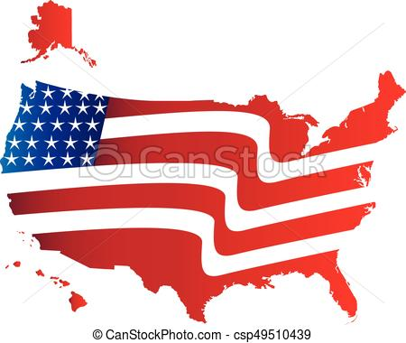 450x380 Us Flag Map Logo. Us American Flag Map With Flag Illustration Icon