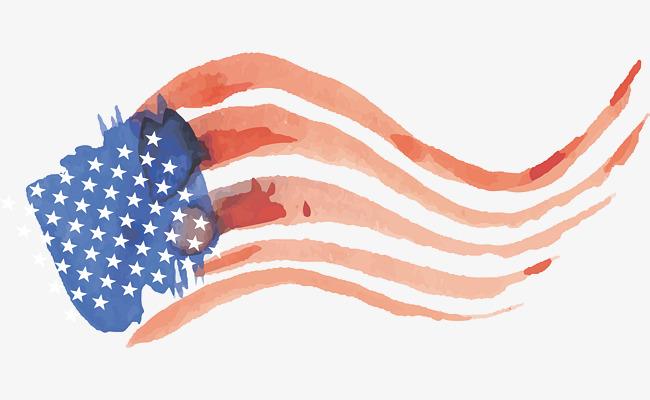 650x400 Wave Watercolor American Flag, Vector Png, American Flag