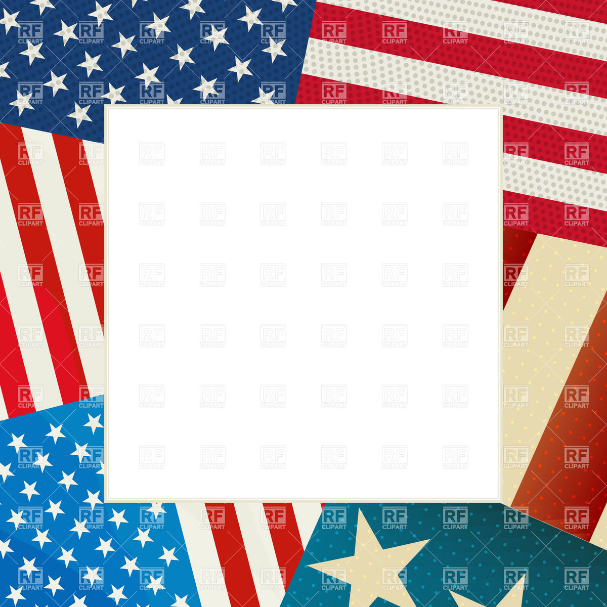 1200x1200 Independence Day Card With Copy Space And Usa Flag Vector Image