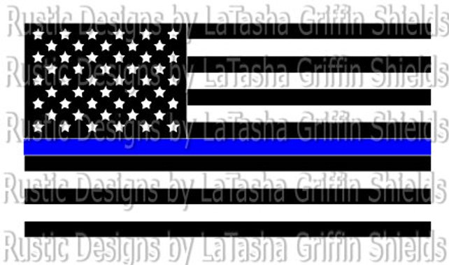 642x379 Thin Blue Line American Flag Svgvector File Amp Dxf Police Etsy