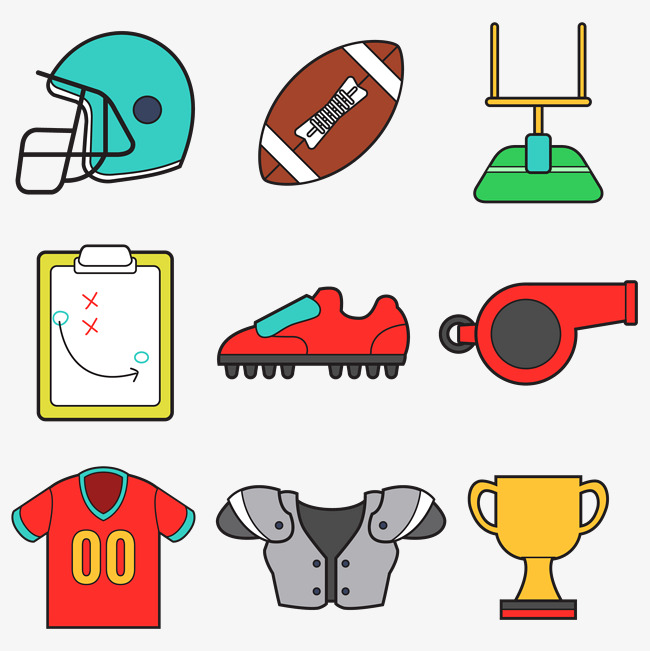 650x651 American Football Vector Accessories, Football Clipart, Physical